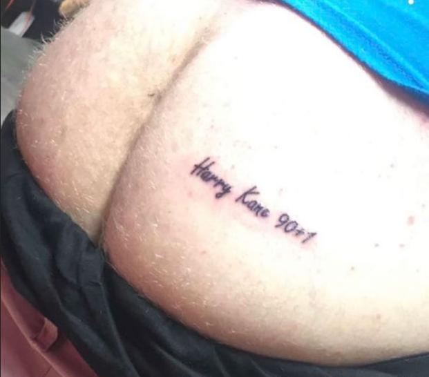 A tatuagem em homenagem ao jogador inglês Harry Kane (Foto: Instagram)