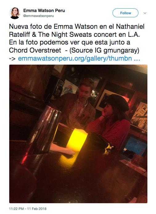 Um suposto flagrante de um encontro da atriz Emma Watson com o ator e cantor Chord Overstreet (Foto: Twitter)