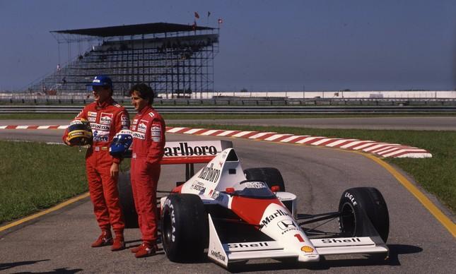 Aryton Senna e Alain Prost, os dois pilotos da McLaren, no Autódromo de Jacarepaguá, em 1989