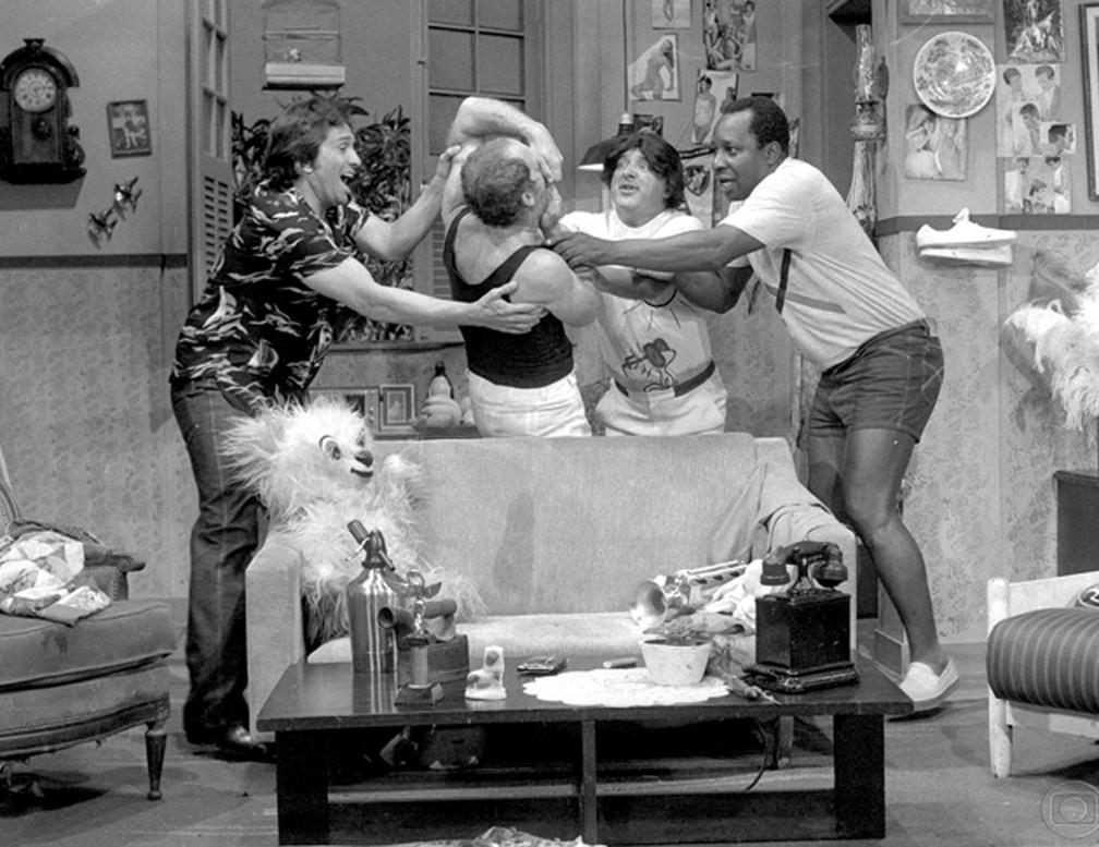 A formação clássica de 'Os Trapalhões'; a partir da esquerda: Dedé, Didi, Zacarias e Mussum — Foto: Geraldo Modesto/TV Globo