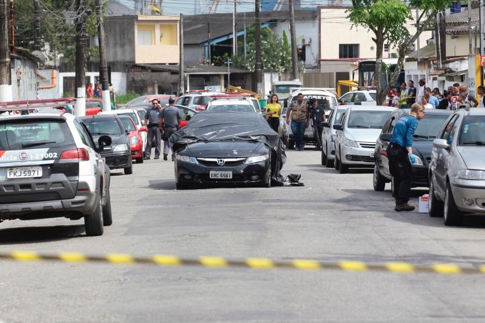 Policial militar foi executado a tiros em Guarujá, SP — Foto: Rogério Soares/A Tribuna Santos