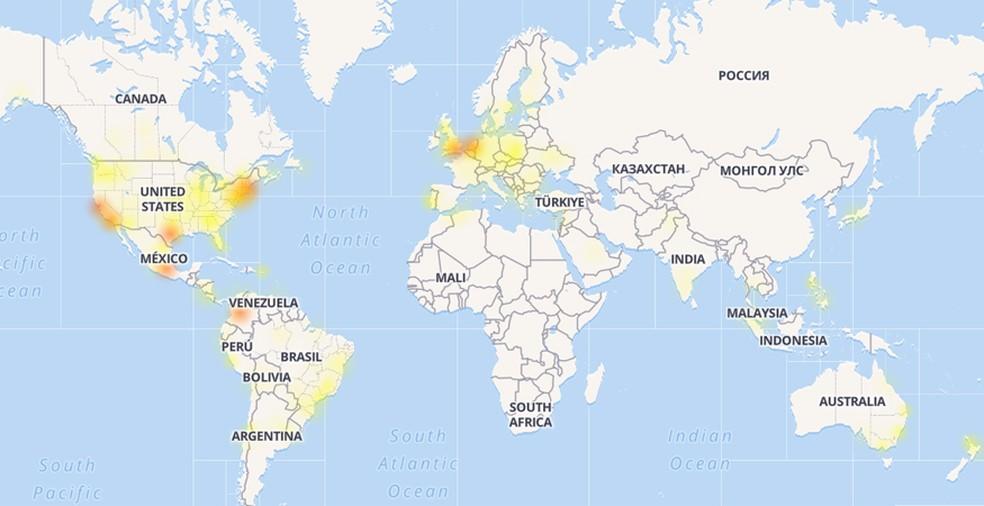 Downdetector, que monitora as falhas do Facebook pelo mundo, mostra que problema foi verificado em vários países do mundo — Foto: Reprodução