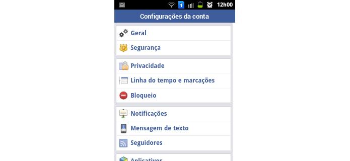 Menu de configurações do Facevbook Lite (Foto: Reprodução/Raquel Freire)