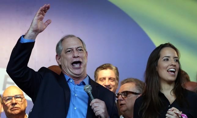 O presidenciável Ciro Gomes (PDT) em convenção do partido