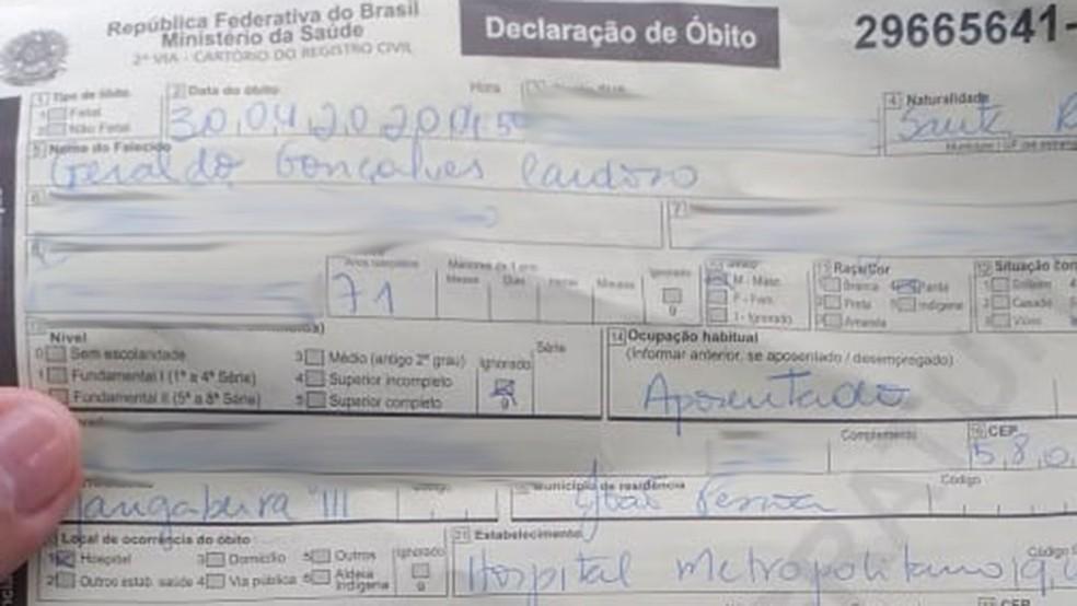 Família de Geraldo Cardoso chegou a receber declaração de óbito antes de ser comunicada que idoso estava vivo — Foto: Reprodução/TV Cabo Branco