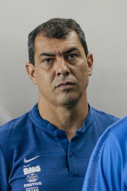 Fábio Carille no clássico contra o Santos — Foto: Marcello Zambrana / Estadão Conteúdo