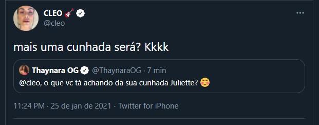 Cleo comenta ship de Fiuk e Juliette (Foto: Reprodução/Twitter)
