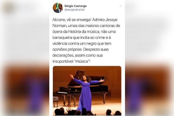 Tuíte de Sergio Camargo