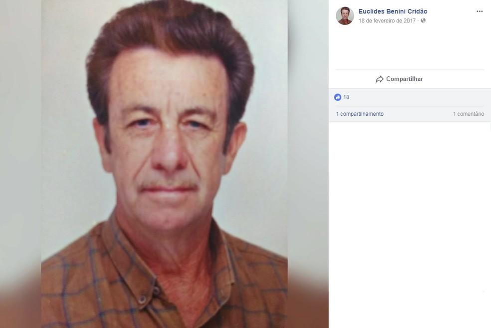 Prefeito da cidade de Dirce Reis, Euclides Scriboni Benini, de 71 anos, ficou gravemente ferido em acidente em Catiguá (SP) (Foto: Facebook/Reprodução)
