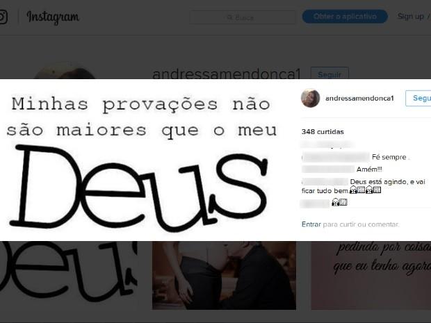 Andressa Mendonça posta mensagem sobre força de Deus na web após Justiça transfromar prisão de Carlinhos Cahcoeira em domiciliar Goiás Goiânia (Foto: Reprodução/Instagram)