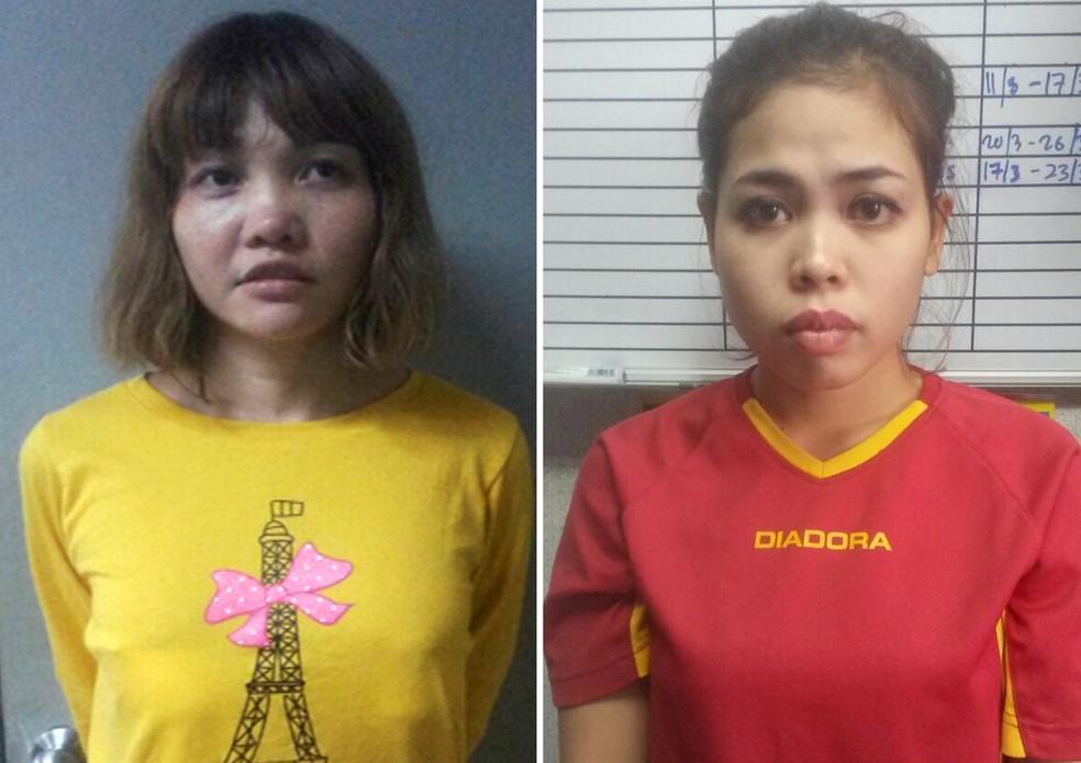 Doan Thi Huong, do Vietnã, e Siti Aisyah, da Indonésia, devem ser indiciadas por assassinato de  Kim Jong-nam, irmão do líder da Coreia do Norte, Kim Jong-un  — Foto: Reuters