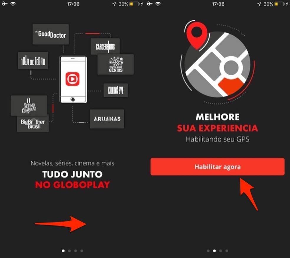 Ação para habilitar o uso do GPS do celular pelo aplicativo Globoplay e assistir ao BBB — Foto: Reprodução/Marvin Costa