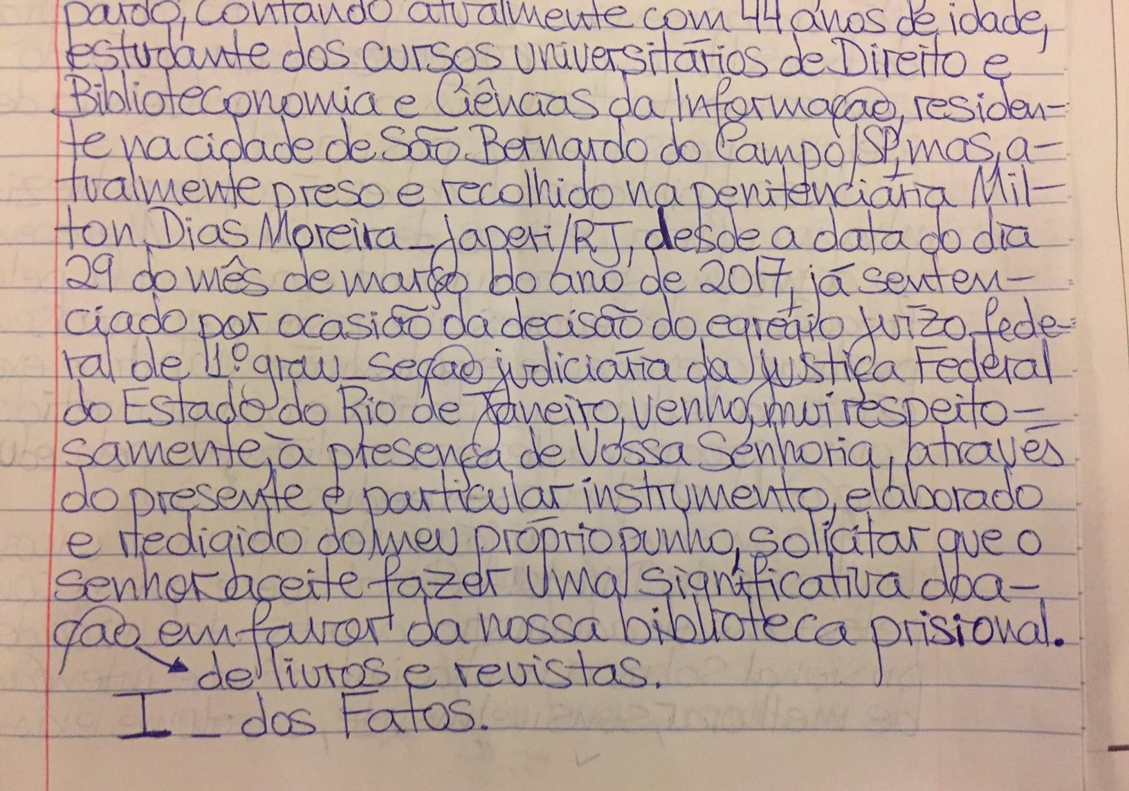 Trecho da carta enviada por Laéssio Rodrigues de Oliveira