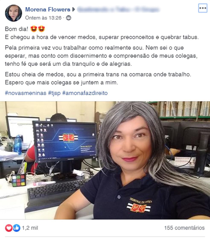Relato de mulher transsexual contando sobre primeira vez que se assumiu no trabalho teve milhares de curtidas nas redes sociais — Foto: Reprodução/Facebook
