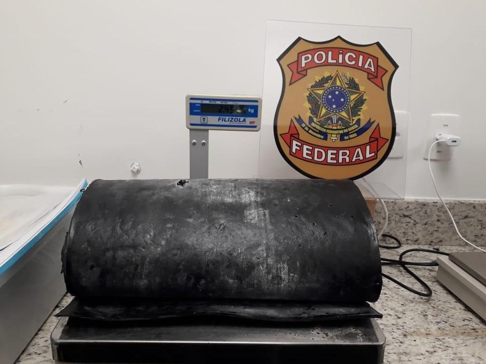 Cocaína foi achada no fundo falso da mala e mulher presa na Bahia — Foto: Divulgação/Polícia Federal
