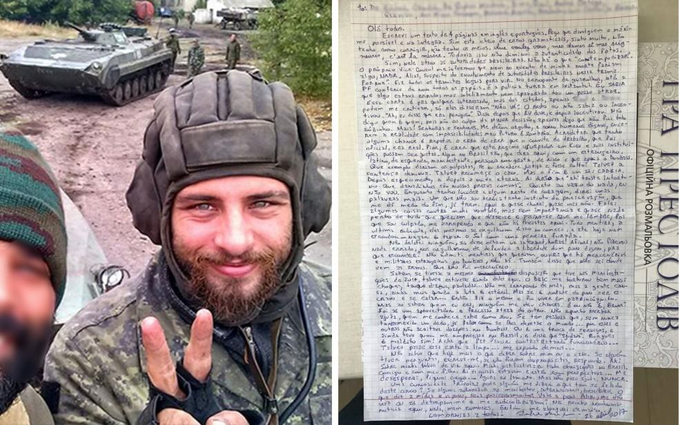 Rafael Lusvarghi em foto na Ucrânia, retirada de arquivo pessoal; ao lado, carta escrita pelo brasileiro na prisão em Kiev (Foto: Reprodução/Arquivo Pessoal)