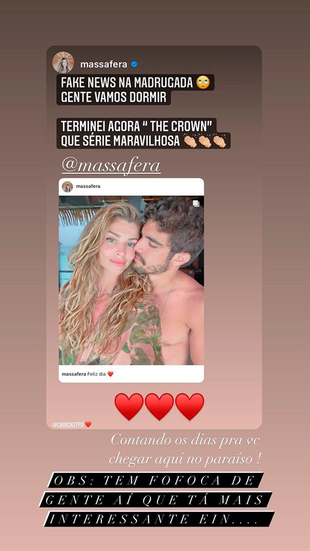Caio Castro desmente boatos sobre fim de namoro com Grazi Massafera (Foto: Reprodução/Instagram)