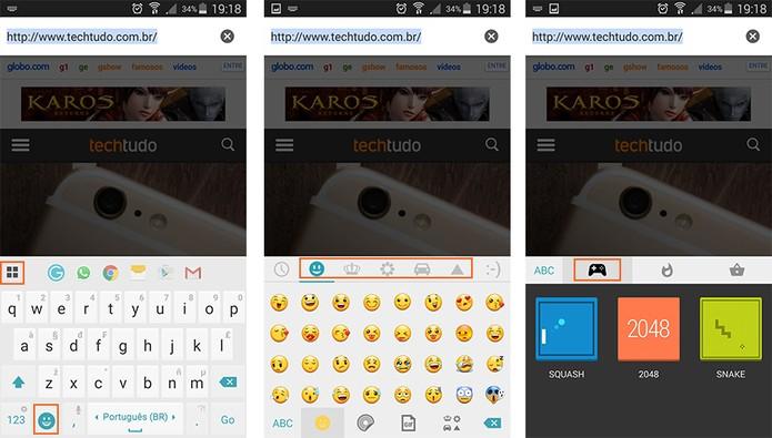 Acessando emoticons e jogos no app Ginger (Foto: Reprodução/Barbara Mannara)