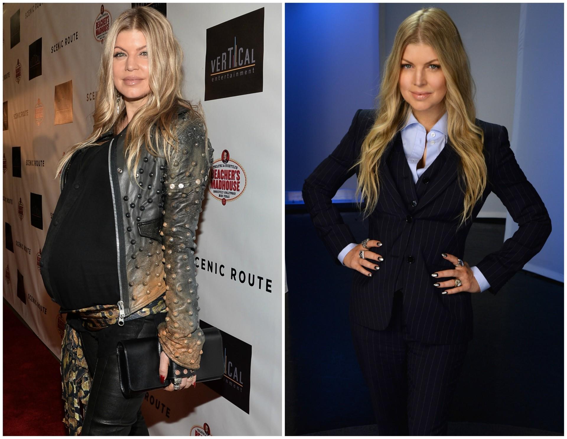 A cantora Fergie em agosto de 2013 (à esq.), nove dias antes de nascer seu filho, Axl, e em março de 2014. (Foto: Getty Images)