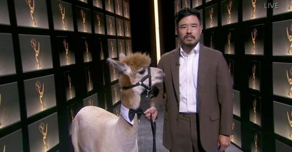 Randall Park e uma alpaca apresentaram categoria de melhor roteiro para minisséries — Foto: EPA via BBC