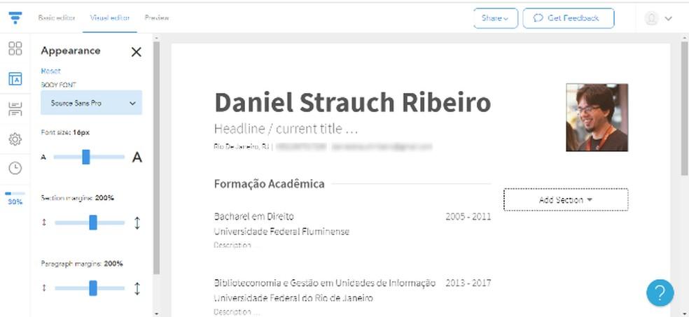 O VisualCV é intuitivo e conta com dezenas de modelos, totalmente personalizáveis — Foto: Reprodução/Daniel Ribeiro
