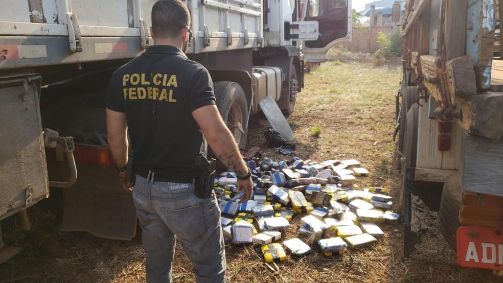 Apreensão foi feita por policiais federais e policiais do Gefron em Comodoro — Foto: Polícia Federal de Mato Grosso/Assessoria