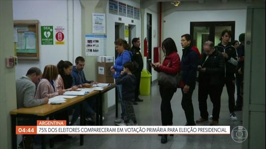 75% dos eleitores da Argentina comparecem em votação primária para eleição presidencial