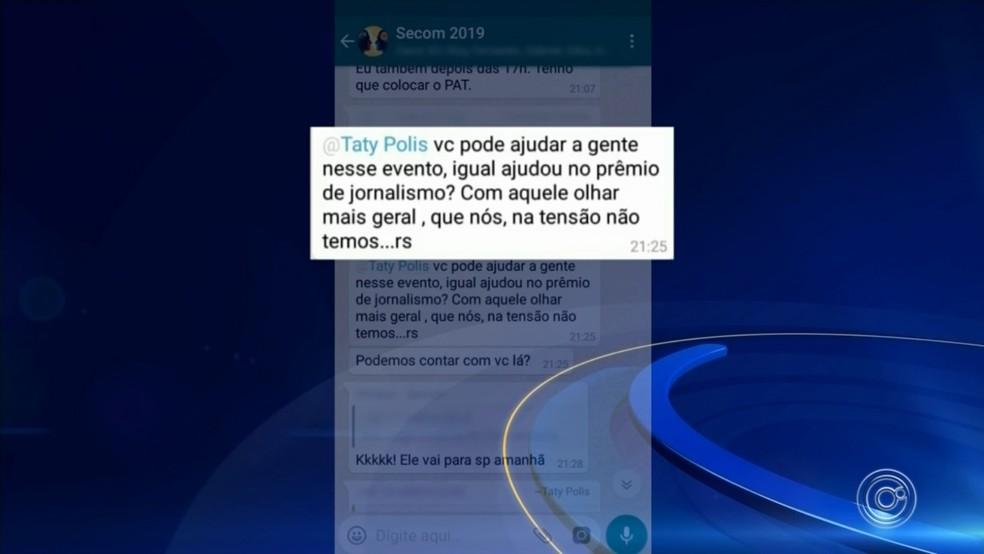 Prints mostram conversas entre Tatiane Polis e servidores — Foto: Reprodução/TV TEM