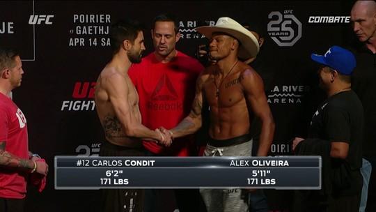 Carlos Condit e Alex Cowboy passam pela pesagem dos Peso-meio-médio no UFC 224