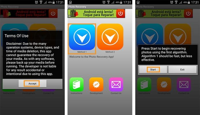 Inicie o aplicativo de recuperação com o método 1 (Foto: Reprodução/Barbara Mannara)