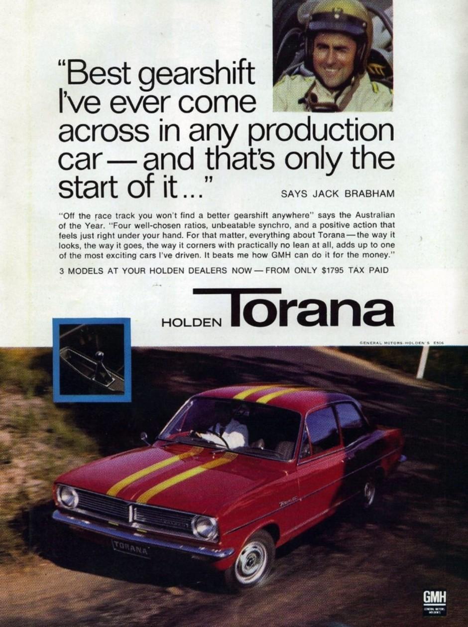 Jack Brabham promove o modelo Holden Torana, produzido por uma fabricante australiana (Foto: Reprodução)