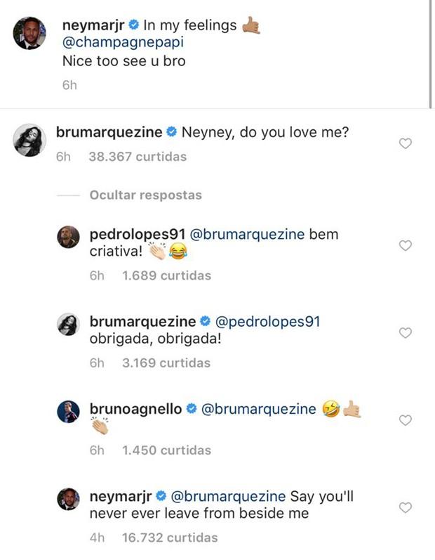 Comentários de Bruna Marquezine no post de Neymar (Foto: Reprodução/Instagram)