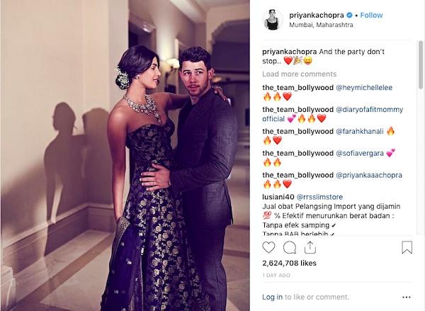 Priyanka Chopra e Nick Jonas na nova festa de casamento (Foto: Instagram)