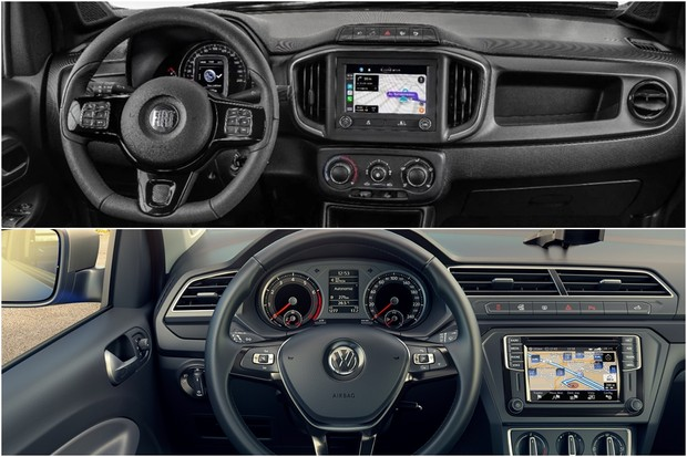 Fiat Strada Volkswagen Saveiro Montagem Comparativo (Foto: Montagem/Divulgação)