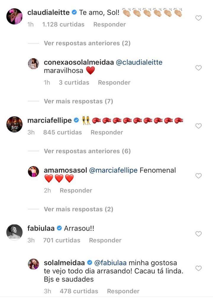 Claudia Leitte e Fabíula elogiam Sol (Foto: Reprodução/Instagram)