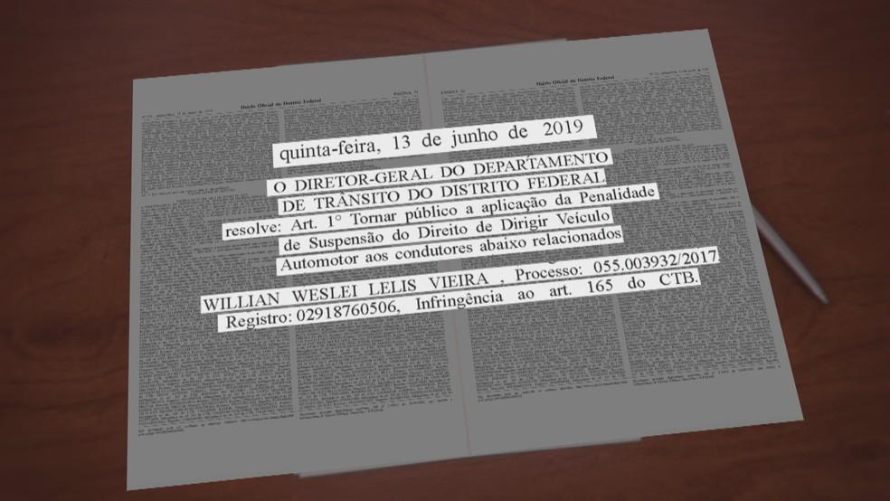 Publicação no Diário Oficial do DF da cassação da carteira de habilitação do empresário William Weslei Lelis Vieira — Foto: TV Globo/Reprodução