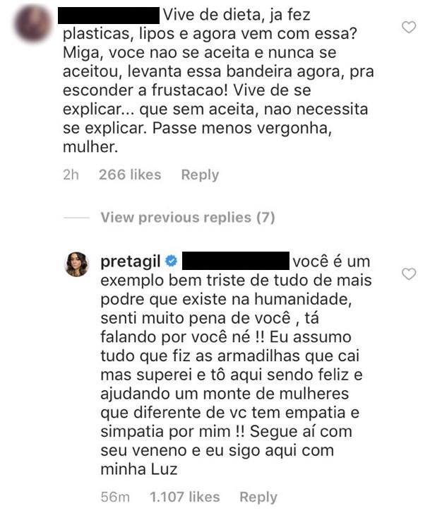 Resposta de Preta Gil (Foto: Reprodução/Instagram)