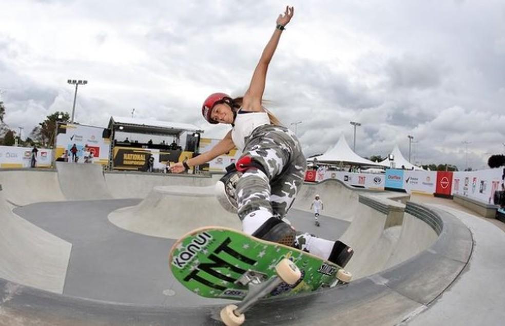 Dora Varella foi a melhor skatista das elimiatórias do STU Criciúma — Foto: Reprodução/Instagram