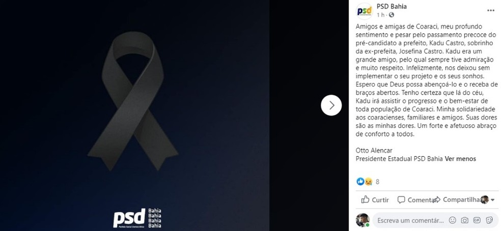PSD da Bahia divulgou nota de pesar — Foto: Reprodução / Redes Sociais
