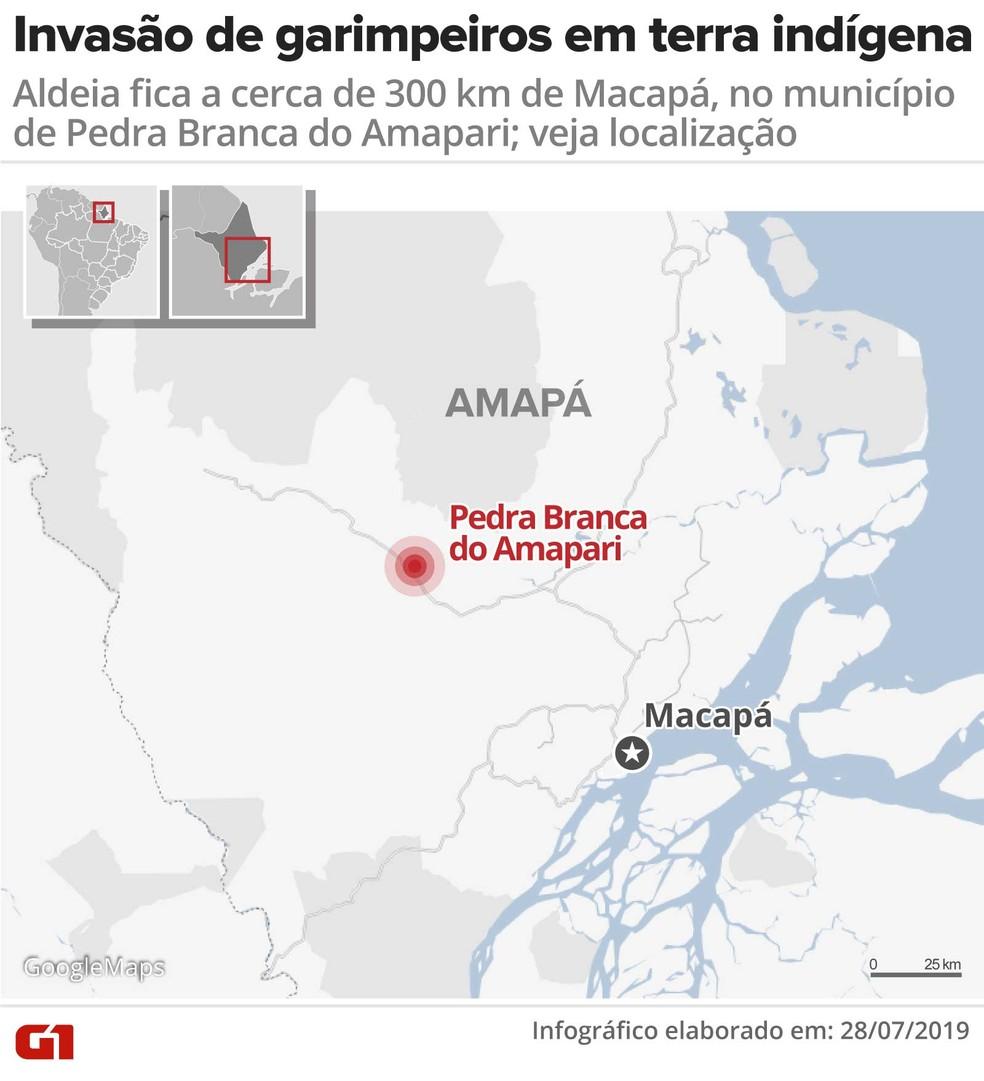Mapa - invasão de garimpeiros em terra indígena — Foto: Rodrigo Sanches/Arte G1