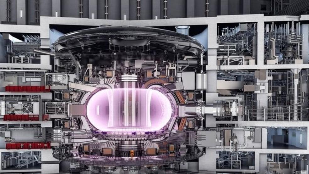 O reator do tipo 'tokamak' deve ser usado no projeto internacional de cooperação para fusão nuclear, o Iter — Foto: Iter/Divulgação/BBC