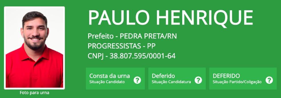 Paulo Henrique (PP), prefeito eleito em Pedra Preta (RN), um dos três mais jovens do Brasil — Foto: Reprodução