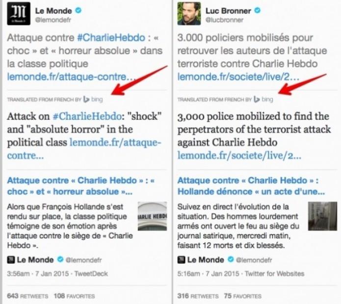 Tweets noticiosos em francês são automaticamente traduzidos para outro idioma na plataforma TweetDeck (Foto / Reprodução: marketingland.com)
