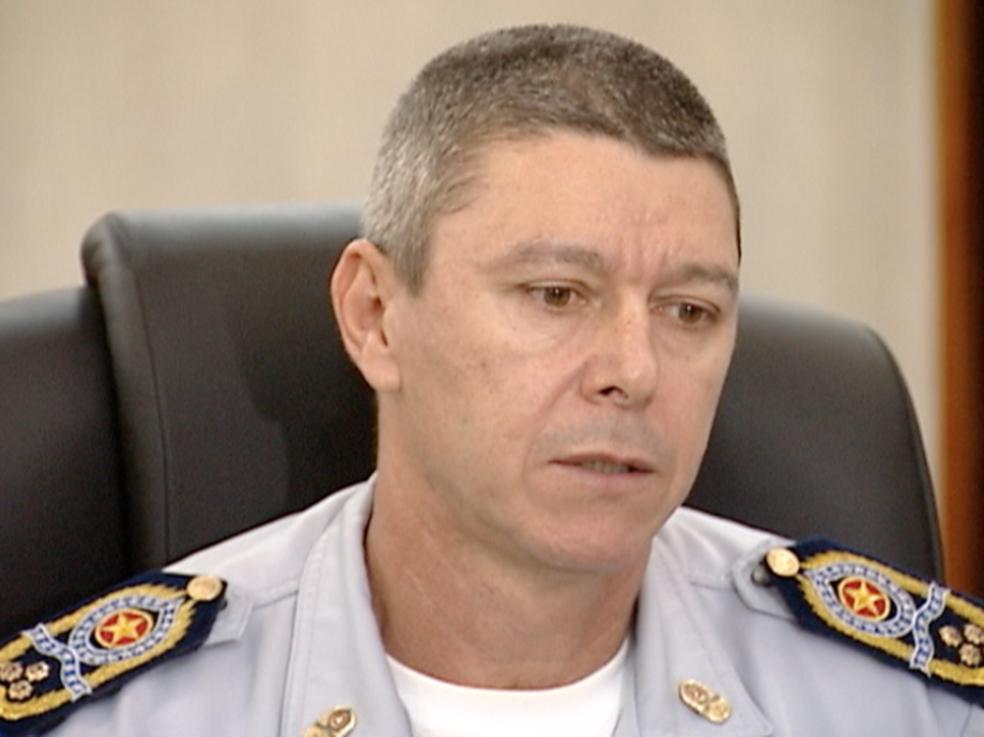 Coronel Ronalt Willian na época que era comandante-geral da PM no ES (Foto: Reprodução/TV Gazeta)