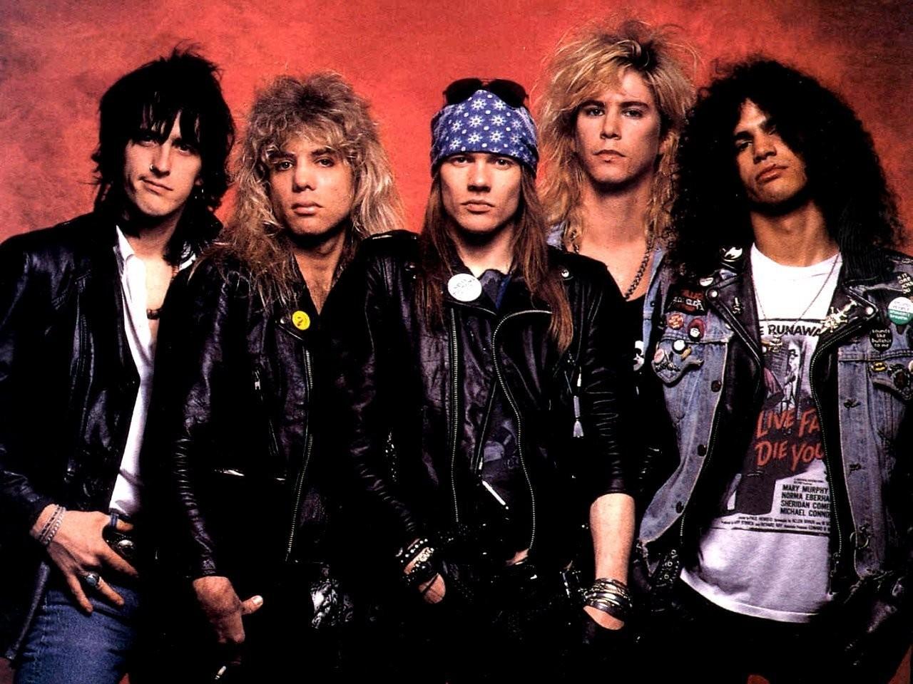 O Guns N' Roses com sua formação clássica, em 1989