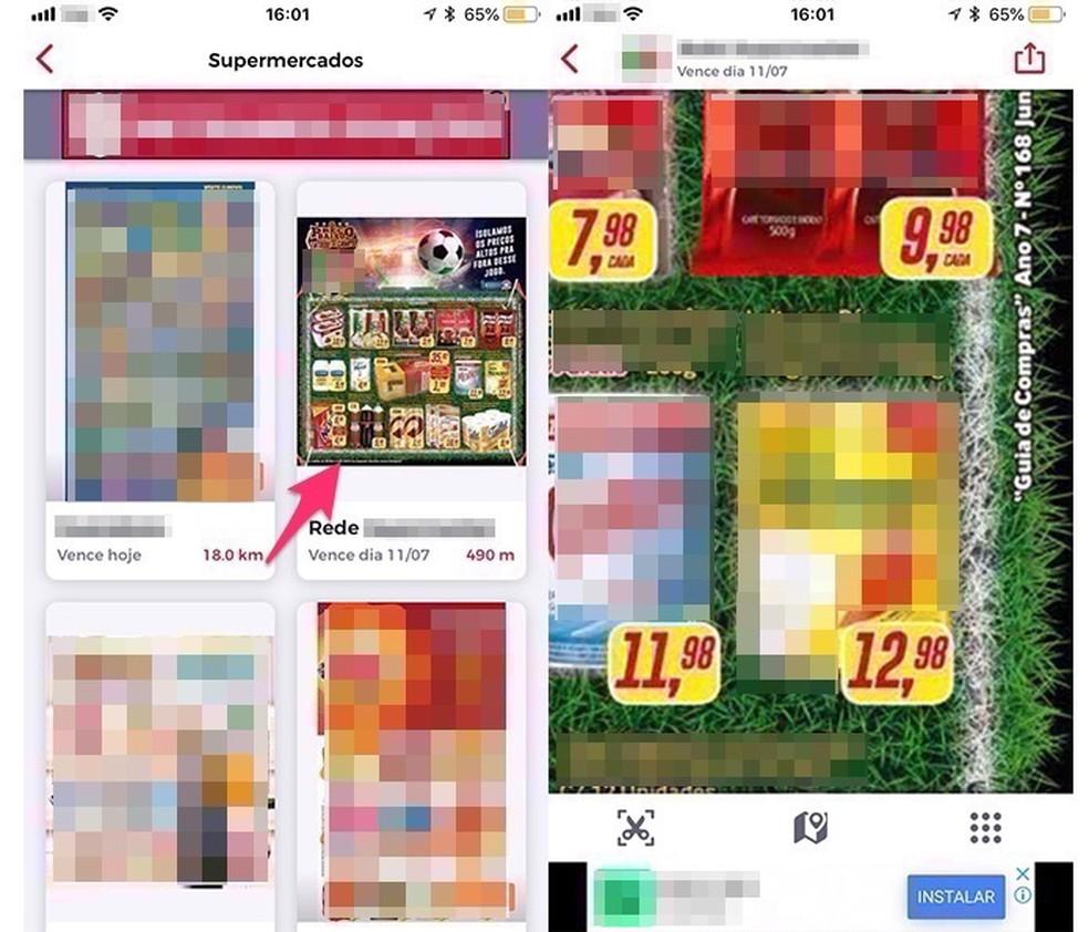 Ação para verificar preços de supermercados no aplicativo AondeConvem (Foto: Reprodução/Marvin Costa)