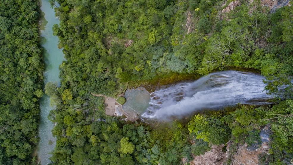 A cachoeira Boca da Onça é a maior do estado — Foto: Boca da Onça Ecotour/Divulgação