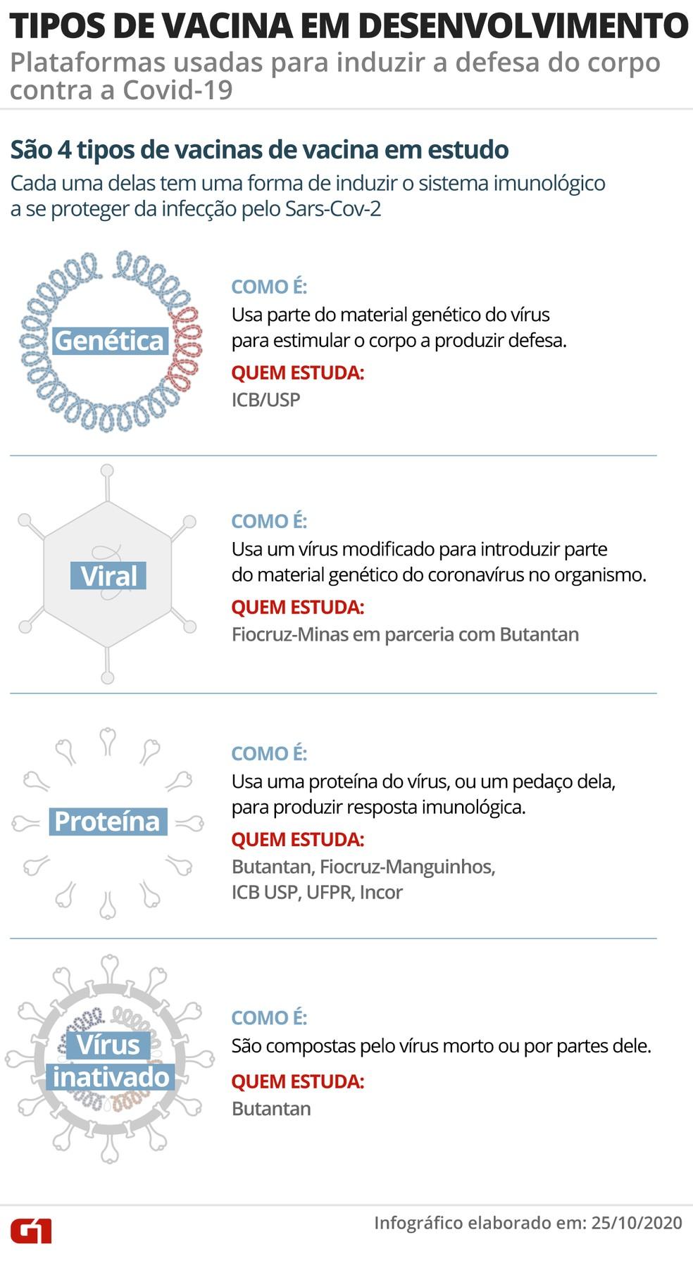 Infográfico mostra quatro plataformas de desenvolvimento de vacinas e quais institutos brasileiros trabalham em quais propostas — Foto: Guilherme Luiz Pinheiro/G1