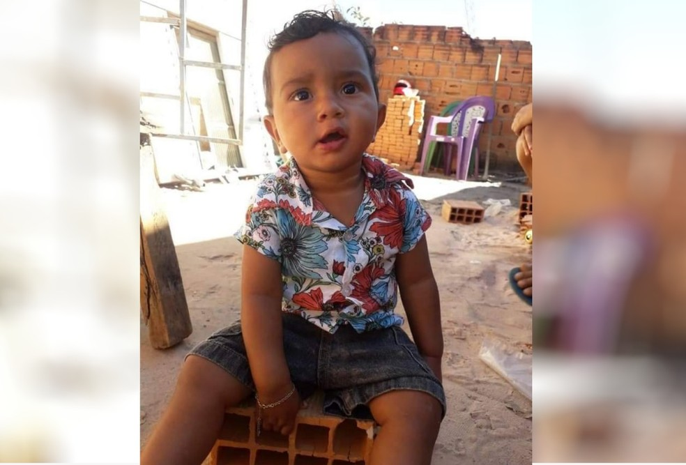 Bebê de 1 anos que morreu após cair em balde e se afogar em Formosa, Goiás — Foto: Reprodução TV Anhanguera