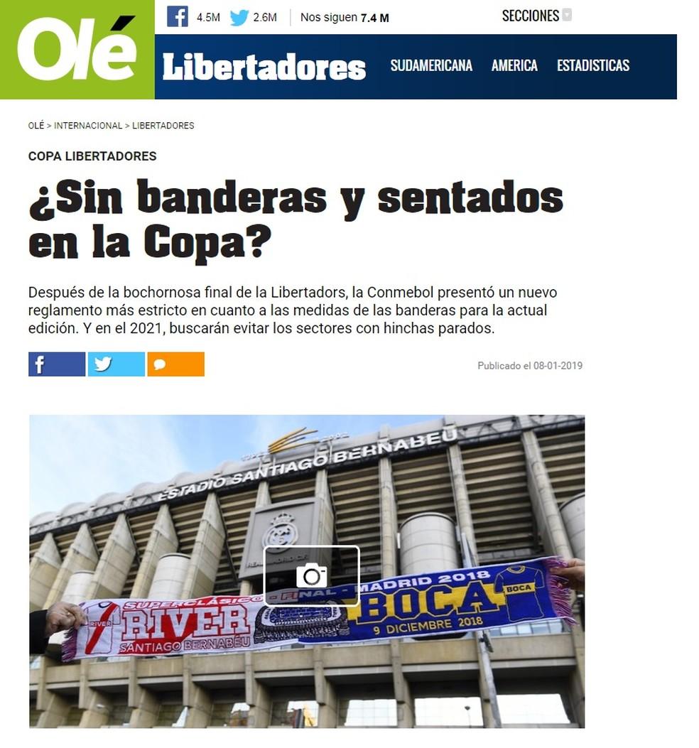 """Jornal """"Olé"""" questiona decisão da Conmebol — Foto: Reprodução/Olé"""